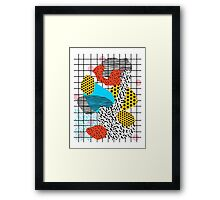 Wig Out - memphis style shapes retro pop art pattern dots stripes squiggles 1980's 80s 80's style grid Framed Print