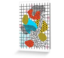 Wig Out - memphis style shapes retro pop art pattern dots stripes squiggles 1980's 80s 80's style grid Greeting Card