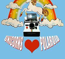 Unicorns love polaroid and rainbows by redcow