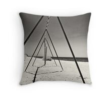 abandoned swing set at salton sea Throw Pillow