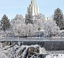 Mormon Temple - Idaho Falls Winter Scene by IMAGETAKERS