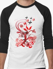Floral tee with butterflies Men's Baseball ¾ T-Shirt
