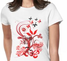 Floral tee with butterflies Womens Fitted T-Shirt