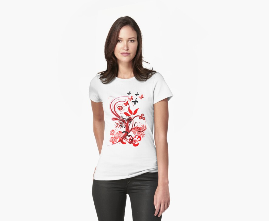 Floral tee with butterflies by walstraasart