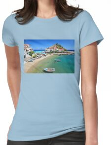 Kokkari embraced by the Aegean Womens Fitted T-Shirt