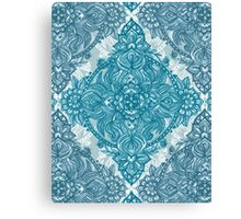 Teal & White Lace Pencil Doodle Canvas Print