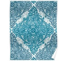 Teal & White Lace Pencil Doodle Poster