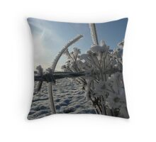 Haw Frost on wire fence Throw Pillow