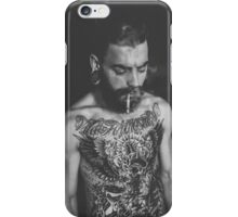 Beard Tattoo Male Portrait - Smoke iPhone Case/Skin