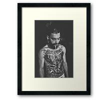 Beard Tattoo Male Portrait - Smoke Framed Print