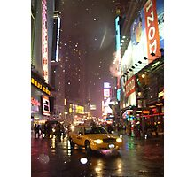 Times Square Taxi on a snowy night Photographic Print