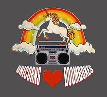 Unicorns love rainbows and boomboxes by redcow