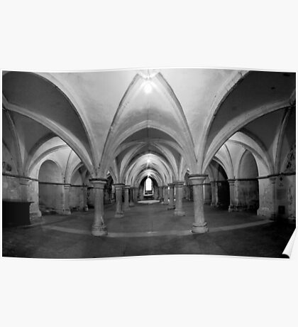 The Crypt - Rochester Cathedral - HDR b/w Poster