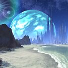 Twin Suns over Alien Ocean World by SpinningAngel