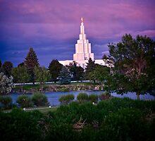Mormon Temple - Idaho Falls Sunset by IMAGETAKERS