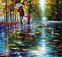STROLL IN AN AUTUMN PARK - Original Art Oil Painting By Leonid Afremov by Leonid  Afremov