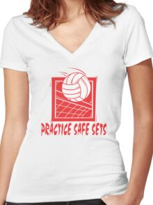 "Funny Volleyball ""Practice Safe Sets"" Women's Fitted V-Neck T-Shirt"