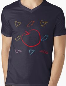 An apple and seven hats Mens V-Neck T-Shirt