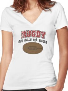 Funny Rugby Women's Fitted V-Neck T-Shirt