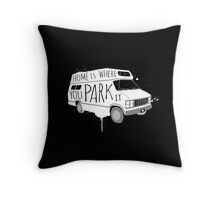 Home is Where You Park It - White Throw Pillow
