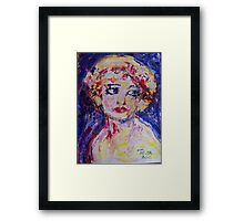 Girl with pink bow Framed Print