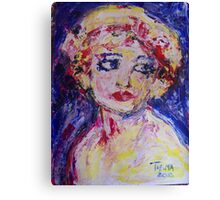 Girl with pink bow Canvas Print