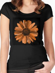Orange flower with water drops Women's Fitted Scoop T-Shirt