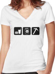 Eat Drink Beer Rockhound Women's Fitted V-Neck T-Shirt