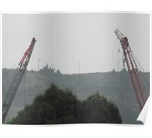 Twin Cranes pointing up to yon sky Poster