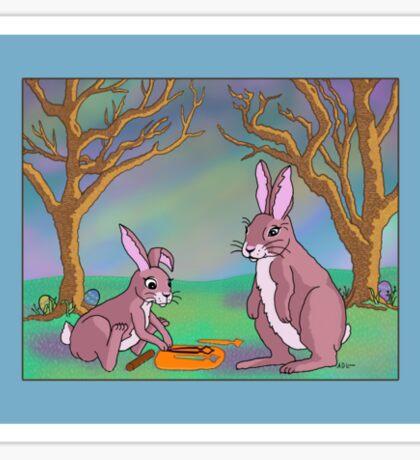 Distracted Easter Bunnies Sticker