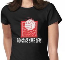 """Funny Volleyball """"Practice Safe Sets"""" Dark Womens Fitted T-Shirt"""