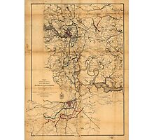 Civil War Richmond and Petersburg Map (1865) Photographic Print