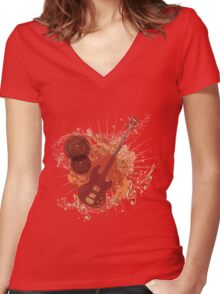 Music Poster with Guitar 6 Women's Fitted V-Neck T-Shirt