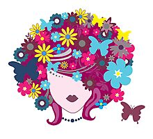 WOMAN FLORAL HAIR Photographic Print