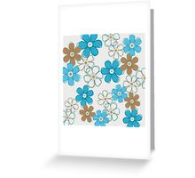 Blue and Brown Floral Design Greeting Card