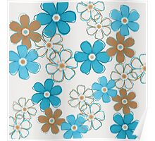 Blue and Brown Floral Design Poster