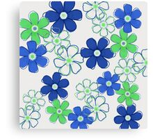 Blue and Green Floral Design Canvas Print