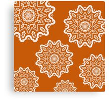 Orange and White Mandalas Canvas Print