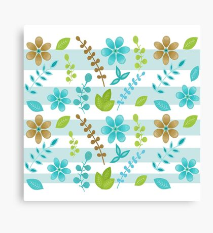 Floral Design with Stripes Canvas Print