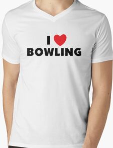 I Love Bowling Mens V-Neck T-Shirt