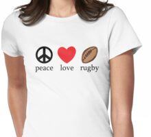 "Rugby ""Peace Love Rugby"" Womens Fitted T-Shirt"