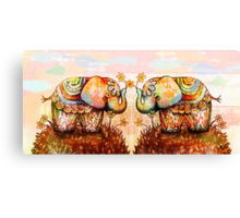 true happiness elephants Canvas Print
