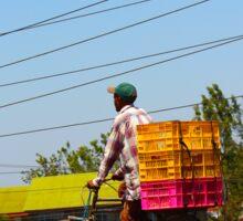Man on a bicycle in Nairobi, KENYA Sticker