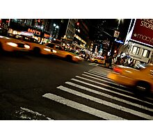 Taxis racing through New York City Photographic Print