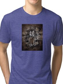 Sitting Cat. Meditation Under The Moon. Tri-blend T-Shirt