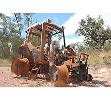 Rusty Burnt Out Tractor near Suggan Buggan Photographic Print