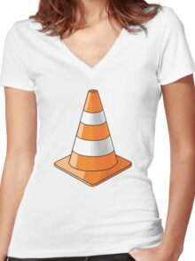 traffic cone Women's Fitted V-Neck T-Shirt