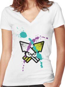 Splatoon - Turf Wars 3 [WHITE Var] Women's Fitted V-Neck T-Shirt