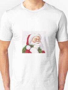 Santa with a holly wreath Unisex T-Shirt