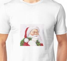 Santa with a holly wreath Unisex T-Shirt